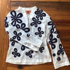 Tory Burch Beaded Rhinestone Cotton Tunic